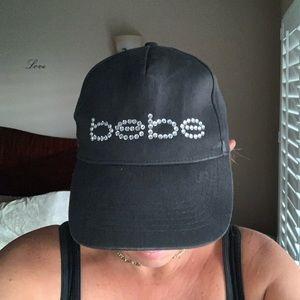 Bebe Black Cap Logo Rhinestone